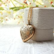 Vintage 9ct Gold On Silver Engraved Heart Locket Necklace Gold Jewelery