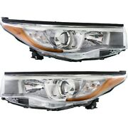 Headlight For 2014-2016 Toyota Highlander With Smoked Chrome Accent Pair Capa
