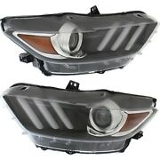 Headlight For 2015-2017 Ford Mustang Pair Driver And Passenger Side Capa