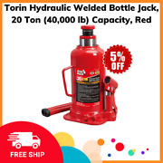 Torin Hydraulic Welded Bottle Jack 20 Ton 40000 Lb Capacity Red