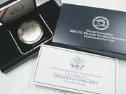 2002-w West Point Commemorative Proof Bu Silver Dollar With Box And Coa
