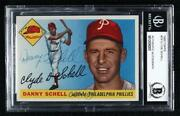 1955 Topps Danny Schell 79 Bas Certified Bgs Encased Auto Rookie