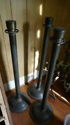 3 Old Antique Brass Movie Theater Hall Way Stanchions Guider Posts Dividers