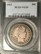 Pcgs Vg-10 1913-p Barber Half Dollar Low Mintage Coin