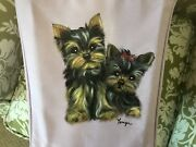 Yorkie Puppies Hand Painted  Lavender Canvas Basket