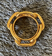 Hermes Signed Authentic Permabrass Regate Circle Scarf Ring