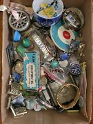 Junk Drawer Lot Silver Toys Knife Coins Jewelry Timex Watch Marx Gameboy Tootsie