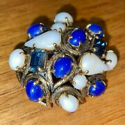 Made In Germany For Christian Dior 1964 Vintage Blue White Glass Brooch Pin 496