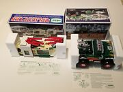 Vintage 2001 Hess Truck Helicopter Motorcycle And Cruiser + Monster Truck 2007 Nos