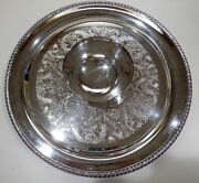 Silverplate 15 Round Tray With Center Bowl By Wm Rogers 866a