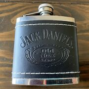 Jack Daniels Stainless Steel Leather Wrapped Screw Top 5 Oz. Flask