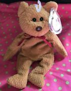 Vintage Ty Beanie Baby Curly The Brown Bear 4052 With Tush And Tag Errors