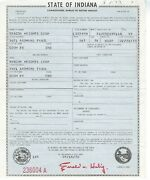 1959 International B100 Pick Up Truck Indiana Title Signed Historical Document