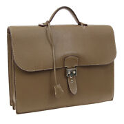 Hermes Sac A Depeche 38 Briefcase Hand Bag Brown Taurillon Clemence S09315i