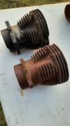 Harley Knucklehead Flathead Front And Rear 1936 1937 4 Fin Cylinders Wow 1930s