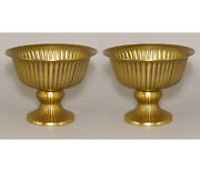 Compote Bowl Vase Gold Finish On Cast Aluminum Fluted Lines 6dia 5.5high Set/2