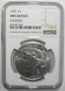 1927 Peace Silver Dollar, Ngc Unc Details, Cleaned