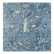 7and0391x7and0391 Pure Wool Denim Blue Fine Peshawar Hand Knotted Square Rug R68718