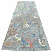 4and039x12and039 Fine Peshawar Soft Organic Wool Hand Knotted Gray Wide Runner Rug R68724