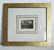Vintage Gold Framed Ancient Greece Gulf Of Corinth Color Prints Engraving - 2 Pc