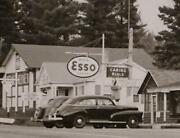 1940and039s Esso Gas Station Pigeon River Boundary Us/canada Real Photo Post Card1-36