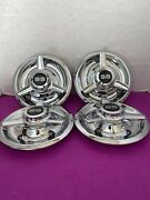 4 3 Bar Spinners Center Caps For Chevy Rally Wheels 7black And Sivler Ss Decal