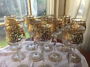 11 Theresienthal Meyr's Neff Art Nouveau 24k Gold Decorated Wine Glasses C.1910