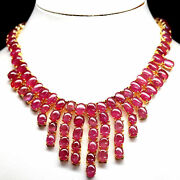 Elegant Natural Handmade Red Ruby Cabs Necklace 20 925 Sterling Silver