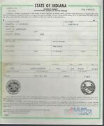 1954 Ford Country Squire Station Wagon Indiana Title Signed Historical Document