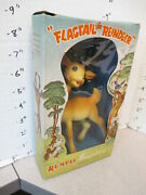 Rempel 1950s Flagtail Reindeer Deer Rubber Squeeze Toy Christmas Mib Boxed