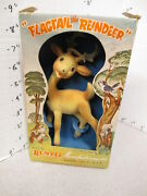 Rempel 1950s Rubber Squeeze Toy Flagtail Reindeer Deer Antlers Bambi Akron Oh