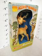 Rempel Flagtail Deer Reindeer Bambi 1950s Animal Rubber Squeeze Toy Boxed 2