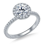 1.00 Ct Round Real Certified Diamond Engagement Ring 14k White Gold Size 4 5