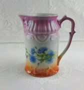 Antique Rcw Retsch And Co Bavaria Germany Pink Pitcher With Blue Flowers Vintage