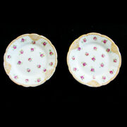 2 Lovely Cowell And Hubbard Small Plates, Fluted Scalloped Gold Edge Roses 6-1/4