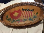 Antique 1937 Wicker/wood Tray W/painted American And Swiss Flags