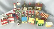Vintage Christmas Village Wood Houses Lighthouse Clowns Soldier Fireplace Lot-22