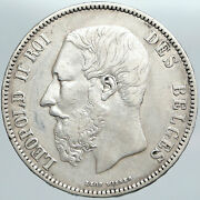 1868 Belgium With King Leopold Ii And Lion Vintage Silver 5 Francs Coin I89109