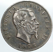 1878 Mbn Italy King Victor Emmanuel Ii Silver 5 Lire Antique Italian Coin I89110