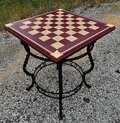 Chess Board Table, Handmade By Brandon. Purple Heart And Sycamore. Wrought Iron.