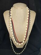 Vintage 4 Monet Red Blue White And Opaque Bead Necklaces Za1t
