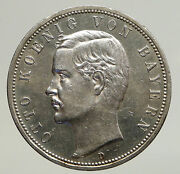 1913 Germany Bavaria Ruled By Otto I W Eagle Antique Silver 5 Marks Coin I93518