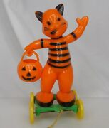 Vintage Halloween Hard Plastic Cat Pull Toy Candy Container - 83822