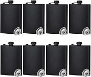 Hip Flask For Liquor Matte Black Stainless Steel Leakproof With Funnel8 Oz Se...