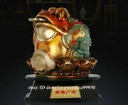 Chinese Copper Bronze Handpainted Fengshui Money Wealth Toad Gold Toad Statue
