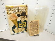 Hopalong Cassidy 1950s Ice Cream Cone Box Cowboy Premium Ring Knife Paper Doll