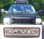 Grille Fit 2007-2014 Ford Expedition Raptor Style Front Grill Black W/letterandled