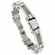 Men's Stainless Steel Cable And Bar Link Bracelet