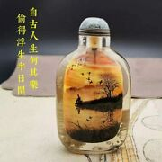 Chinese Crystal Snuff Bottle Hand Painting Landscape