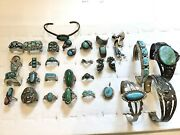 Vintage Sterling Silver Turquoise And Malachite Jewelry Lot